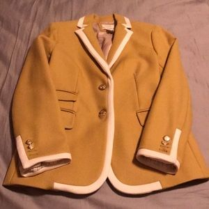 Jcrew yellow and ivory pipped hacking jacket